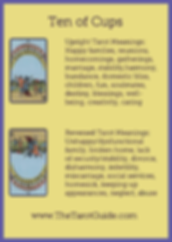 Ten of Cups Tarot Flashcard showing the best keyword meanings for the upright & reversed card, free online Minor Arcana flashcards, made by professional psychic Tarot reader, The Tarot Guide, the easy way to learn how to accurately read Tarot.