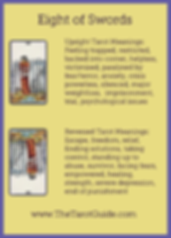 Eight of Swords Tarot Flashcard showing the best keyword meanings for the upright & reversed card, free online Minor Arcana flashcards, made by professional psychic Tarot reader, The Tarot Guide, the easy way to learn how to accurately read Tarot.