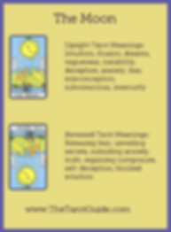 The Moon Tarot flashcard upright and reversed meaning by The Tarot Guide, Major Arcana, free Tarot reading, Online Tarot, Love Tarot, Tarot card meanings, lotus tarot, clairvoyant, Taro, free Tarot, reiki, numerology, tarot reader Glasgow,