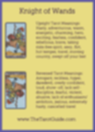 Knight of Wands Tarot Flashcard showing the best keyword meanings for the upright & reversed card, free online Minor Arcana flashcards, made by professional psychic Tarot reader, The Tarot Guide, the easy way to learn how to accurately read Tarot.