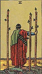 Three of Wands Tarot Upright Meaning by The Tarot Guide, Learn How to Read Tarot Cards, Minor Arcana, General Interpretation, Love, Relationships, Money, Finance, Health, Spirituality, Keywords, Tarot Reading, Tarot Readers, Psychic, Clairvoyant, Reiki, Palm, Online, Skype, Email, In-person Tarot Readings, Dublin, Ireland, UK, USA, Canada, Australia, How Someone Sees You, Feels About You, Job Offer, Feelings¸ Outcome