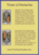 Three of Pentacles Tarot Flashcard showing the best keyword meanings for the upright & reversed card, free online Minor Arcana flashcards, made by professional psychic Tarot reader, The Tarot Guide, the easy way to learn how to accurately read Tarot.