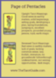 Page of Pentacles Tarot Flashcard showing the best keyword meanings for the upright & reversed card, free online Minor Arcana flashcards, made by professional psychic Tarot reader, The Tarot Guide, the easy way to learn how to accurately read Tarot.