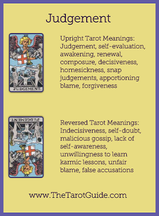 Judgement Tarot flashcard upright and reversed meaning by The Tarot Guide, Major Arcana, free Tarot reading, reincarnation, witch, magic, rose quartz, crystals, reiki massage, celtic cross, physic, clairvoyant, tarot reader London,