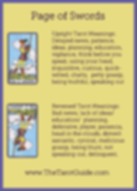 Page of Swords Tarot Flashcard showing the best keyword meanings for the upright & reversed card, free online Minor Arcana flashcards, made by professional psychic Tarot reader, The Tarot Guide, the easy way to learn how to accurately read Tarot.