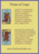 Three of Cups Tarot Flashcard showing the best keyword meanings for the upright & reversed card, free online Minor Arcana flashcards, made by professional psychic Tarot reader, The Tarot Guide, the easy way to learn how to accurately read Tarot.