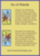 Six of Wands Tarot Flashcard showing the best keyword meanings for the upright & reversed card, free online Minor Arcana flashcards, made by professional psychic Tarot reader, The Tarot Guide, the easy way to learn how to accurately read Tarot.