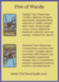 Five of Wands Tarot Flashcard showing the best keyword meanings for the upright & reversed card, free online Minor Arcana flashcards, made by professional psychic Tarot reader, The Tarot Guide, the easy way to learn how to accurately read Tarot.