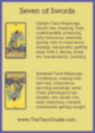 Seven of Swords Tarot Flashcard showing the best keyword meanings for the upright & reversed card, free online Minor Arcana flashcards, made by professional psychic Tarot reader, The Tarot Guide, the easy way to learn how to accurately read Tarot.