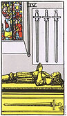 Four of Swords Tarot card upright and reversed meaning by The Tarot Guide, Minor Arcana, Four of Swords Tarot, Tarot card meanings, Four of Swords Tarot card, Four of Swords Tarot meaning, Four of Swords Tarot reading, Tarot reading Dublin, Tarot Online
