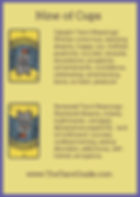 Nine of Cups Tarot Flashcard showing the best keyword meanings for the upright & reversed card, free online Minor Arcana flashcards, made by professional psychic Tarot reader, The Tarot Guide, the easy way to learn how to accurately read Tarot.