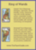King of Wands Tarot Flashcard showing the best keyword meanings for the upright & reversed card, free online Minor Arcana flashcards, made by professional psychic Tarot reader, The Tarot Guide, the easy way to learn how to accurately read Tarot.