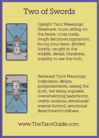 Two of Swords Tarot Flashcard showing the best keyword meanings for the upright & reversed card, free online Minor Arcana flashcards, made by professional psychic Tarot reader, The Tarot Guide, the easy way to learn how to accurately read Tarot.
