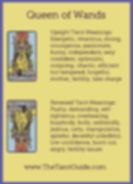 Queen of Wands Tarot Flashcard showing the best keyword meanings for the upright & reversed card, free online Minor Arcana flashcards, made by professional psychic Tarot reader, The Tarot Guide, the easy way to learn how to accurately read Tarot.