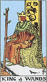 King of Wands Tarot card upright and reversed meaning by The Tarot Guide, Minor Arcana, King of Wands Tarot, Tarot card meanings, King of Wands Tarot card, King of Wands Tarot meaning, King of Wands Tarot reading, Tarot card reading, Tarot reading,
