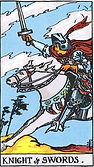 Knight of Swords Tarot card upright and reversed meaning by The Tarot Guide, Minor Arcana, Knight of Swords Tarot, Tarot card meanings, Knight of Swords Tarot card, Knight of Swords Tarot meaning, Knight of Swords Tarot reading, Tarot card reading Ireland