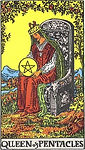 Queen of Pentacles Tarot Upright Meaning by The Tarot Guide, Learn How to Read Tarot Cards, Minor Arcana, General Interpretation, Love, Relationships, Money, Finance, Health, Spirituality, Keywords, Tarot Reading, Tarot Readers, Psychic, Clairvoyant, Reiki, Palm, Online, Skype, Email, In-person Tarot Readings, Dublin, Ireland, UK, USA, Canada, Australia, How Someone Sees You, Feels About You, Job Offer, Feelings¸ Outcome