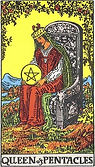 Queen of Pentacles Tarot card upright and reversed meaning by The Tarot Guide, Minor Arcana, free Tarot, Tarot Queen of Pentacles, Queen of Pentacles reversed, Queen of Pentacles Tarot reversed, Queen of Pentacles Tarot card reversed, Tarot reading Dublin