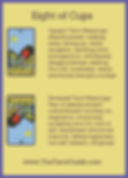 Eight of Cups Tarot Flashcard showing the best keyword meanings for the upright & reversed card, free online Minor Arcana flashcards, made by professional psychic Tarot reader, The Tarot Guide, the easy way to learn how to accurately read Tarot.