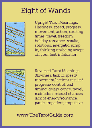 Eight of Wands Tarot Flashcard showing the best keyword meanings for the upright & reversed card, free online Minor Arcana flashcards, made by professional psychic Tarot reader, The Tarot Guide, the easy way to learn how to accurately read Tarot.