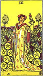 Nine of Pentacles Tarot Upright Meaning by The Tarot Guide, Learn How to Read Tarot Cards, Minor Arcana, General Interpretation, Love, Relationships, Money, Finance, Health, Spirituality, Keywords, Tarot Reading, Tarot Readers, Psychic, Clairvoyant, Reiki, Palm, Online, Skype, Email, In-person Tarot Readings, Dublin, Ireland, UK, USA, Canada, Australia, How Someone Sees You, Feels About You, Job Offer, Feelings¸ Outcome