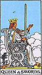 Queen of Swords Tarot Upright Meaning by The Tarot Guide, Learn How to Read Tarot Cards, Minor Arcana, General Interpretation, Love, Relationships, Money, Finance, Health, Spirituality, Keywords, Tarot Reading, Tarot Readers, Psychic, Clairvoyant, Reiki, Palm, Online, Skype, Email, In-person Tarot Readings, Dublin, Ireland, UK, USA, Canada, Australia, How Someone Sees You, Feels About You, Job Offer, Feelings¸ Outcome