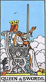 Queen of Swords Tarot card upright and reversed meaning by The Tarot Guide, Minor Arcana, Queen of Swords Tarot, Tarot card meanings, Queen of Swords Tarot card, Queen of Swords Tarot meaning, Queen of Swords Tarot reading, Tarot reading online, Skype taro