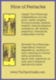 Nine of Pentacles Tarot Flashcard showing the best keyword meanings for the upright & reversed card, free online Minor Arcana flashcards, made by professional psychic Tarot reader, The Tarot Guide, the easy way to learn how to accurately read Tarot.