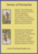 Seven of Pentacles Tarot Flashcard showing the best keyword meanings for the upright & reversed card, free online Minor Arcana flashcards, made by professional psychic Tarot reader, The Tarot Guide, the easy way to learn how to accurately read Tarot.