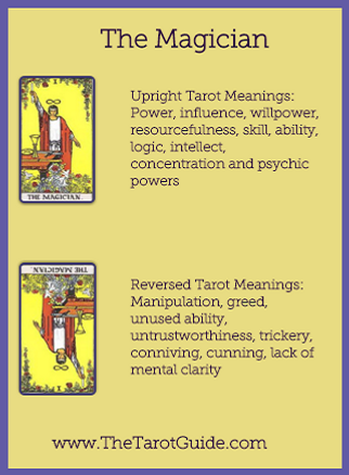 The Magician Tarot flashcards card upright and reversed meaning by The Tarot Guide, Major Arcana, free Tarot reading, Online Tarot, Love Tarot, career Tarot, lotus tarot, clairvoyant, palm reading, chakra, chakras, wicca, tarot reading London