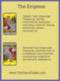The Empress Tarot flashcard upright and reversed meaning by The Tarot Guide, Major Arcana, free Tarot reading, Online Tarot, Tarot card meanings, lotus tarot, clairvoyant, Taro, free Tarot, reiki, numerology, tarot reading Toronto
