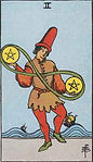Two of Pentacles Tarot Upright Meaning by The Tarot Guide, Learn How to Read Tarot Cards, Minor Arcana, General Interpretation, Love, Relationships, Money, Finance, Health, Spirituality, Keywords, Tarot Reading, Tarot Readers, Psychic, Clairvoyant, Reiki, Palm, Online, Skype, Email, In-person Tarot Readings, Dublin, Ireland, UK, USA, Canada, Australia, How Someone Sees You, Feels About You, Job Offer, Feelings¸ Outcome