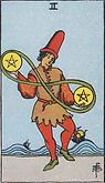 Two of Pentacles Tarot card upright and reversed meaning by The Tarot Guide, Minor Arcana, Two of Pentacles Tarot, Tarot card meanings, Two of Pentacles reversed, free Tarot, Two of Pentacles Tarot card, Two of Pentacles Tarot meaning, Two of Pentacles Tar
