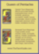 Queen of Pentacles Tarot Flashcard showing the best keyword meanings for the upright & reversed card, free online Minor Arcana flashcards, made by professional psychic Tarot reader, The Tarot Guide, the easy way to learn how to accurately read Tarot.