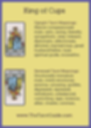 King of Cups Tarot Flashcard showing the best keyword meanings for the upright & reversed card, free online Minor Arcana flashcards, made by professional psychic Tarot reader, The Tarot Guide, the easy way to learn how to accurately read Tarot.