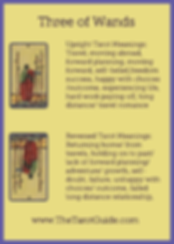 Three of Wands Tarot Flashcard showing the best keyword meanings for the upright & reversed card, free online Minor Arcana flashcards, made by professional psychic Tarot reader, The Tarot Guide, the easy way to learn how to accurately read Tarot.