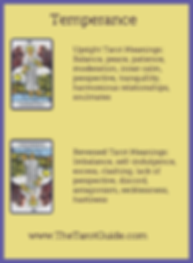 Temperance Tarot flashcard upright and reversed meaning by The Tarot Guide, Major Arcana, free Tarot reading, reincarnation, witch, magic, rose quartz, crystals, reiki massage, celtic cross, physic, clairvoyant, tarot reader Liverpool,