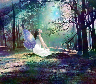 Angelic Fairy in the Forest, Artwork from The Tarot Guide www.TheTarotGuide.com #fairyart #fairy #tarot #tarotreading #art