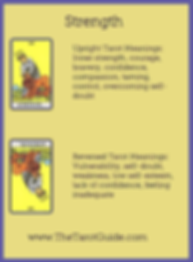 Strength Tarot flashcard upright and reversed meaning by The Tarot Guide, Major Arcana, free Tarot reading, reincarnation, witch, magic, rose quartz, crystals, reiki massage, celtic cross, physic, clairvoyant, tarot reader Ontario,