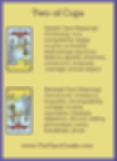 Two of Cups Tarot Flashcard showing the best keyword meanings for the upright & reversed card, free online Minor Arcana flashcards, made by professional psychic Tarot reader, The Tarot Guide, the easy way to learn how to accurately read Tarot.
