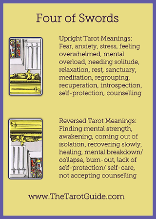 Four of Swords Tarot Flashcard showing the best keyword meanings for the upright & reversed card, free online Minor Arcana flashcards, made by professional psychic Tarot reader, The Tarot Guide, the easy way to learn how to accurately read Tarot.