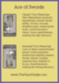 Ace of Swords Tarot Flashcard showing the best keyword meanings for the upright & reversed card, free online Minor Arcana flashcards, made by professional psychic Tarot reader, The Tarot Guide, the easy way to learn how to accurately read Tarot.