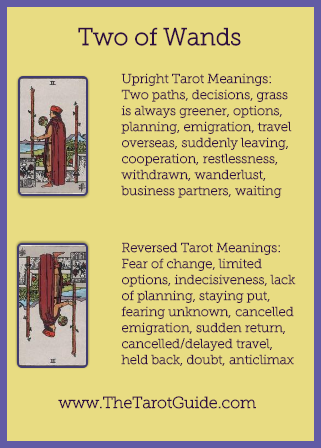 Two of Wands Tarot Flashcard showing the best keyword meanings for the upright & reversed card, free online Minor Arcana flashcards, made by professional psychic Tarot reader, The Tarot Guide, the easy way to learn how to accurately read Tarot.