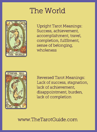 The World Tarot flashcard upright and reversed meaning by The Tarot Guide, Major Arcana, free Tarot reading, Online Tarot, Love Tarot, Tarot card meanings, lotus tarot, clairvoyant, Taro, free Tarot, reiki, numerology, tarot reader Dublin,