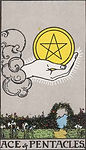 Ace of Pentacles Tarot Upright Meaning by The Tarot Guide, Learn How to Read Tarot Cards, Minor Arcana, General Interpretation, Love, Relationships, Money, Finance, Health, Spirituality, Keywords, Tarot Reading, Tarot Readers, Psychic, Clairvoyant, Reiki, Palm, Online, Skype, Email, In-person Tarot Readings, Dublin, Ireland, UK, USA, Canada, Australia, How Someone Sees You, Feels About You, Job Offer, Feelings¸ Outcome