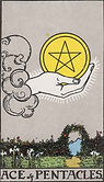Ace of Pentacles Tarot card upright and reversed meaning by The Tarot Guide, Minor Arcana, Ace of Pentacles Tarot, Ace of Pentacles Tarot meaning, Ace of Pentacles reversed, Ace of Pentacles Tarot reversed, Ace of Pentacles Tarot reading, Tarot Dublin,