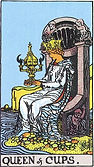 Queen of Cups Tarot card upright and reversed meaning by The Tarot Guide, Minor Arcana, Queen of Cups Tarot, Queen of Cups reversed, Queen of Cups Tarot reversed, free Tarot reading, Online Tarot, Love Tarot, Tarot card meanings, Queen of Cups Tarot card,