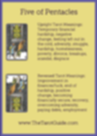 Five of Pentacles Tarot Flashcard showing the best keyword meanings for the upright & reversed card, free online Minor Arcana flashcards, made by professional psychic Tarot reader, The Tarot Guide, the easy way to learn how to accurately read Tarot.