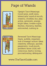 Page of Wands Tarot Flashcard showing the best keyword meanings for the upright & reversed card, free online Minor Arcana flashcards, made by professional psychic Tarot reader, The Tarot Guide, the easy way to learn how to accurately read Tarot.