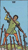Seven of Wands Tarot card upright and reversed meaning by The Tarot Guide, Minor Arcana, Seven of Wands Tarot, Tarot card meanings, Seven of Wands Tarot card, Seven of Wands Tarot meaning, Seven of Wands Tarot reading, Tarot card reading, Tarot reading, NY